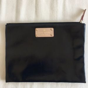 Kate Spade Black Leather Large Zip Pouch Clutch